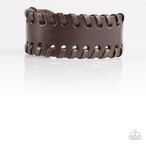 Rugged Roadways Brown Leather Buckled Bracelet